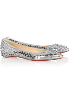 Christian Louboutin | Pigalle Spikes metallic leather flats | NET-A-PORTER.COM