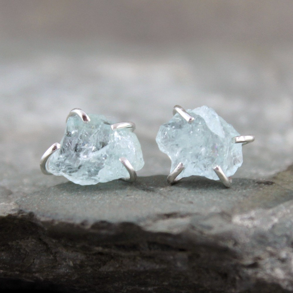 Uncut Raw Rough Aquamarine Earrings Sterling by ASecondTime