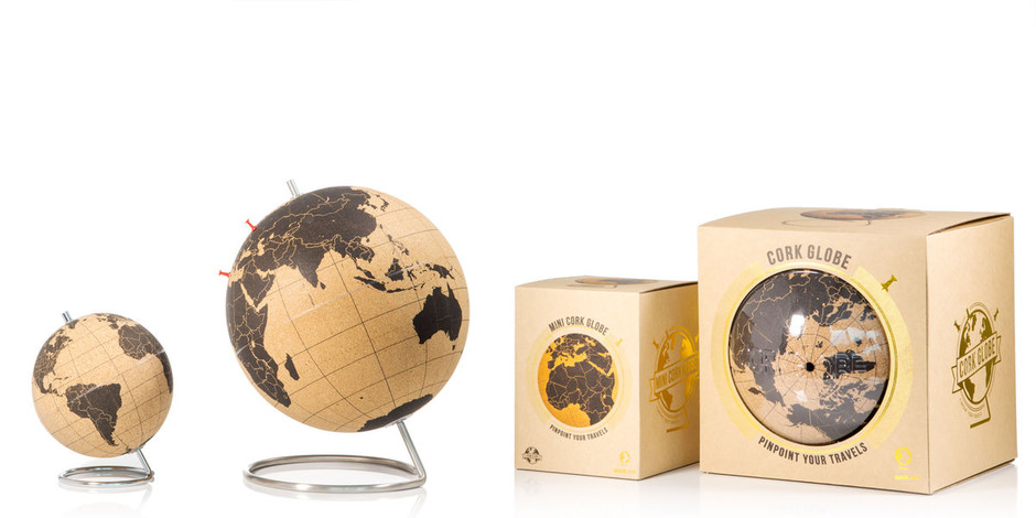 Cork Globe : Pinpoint your travels right on the globe.