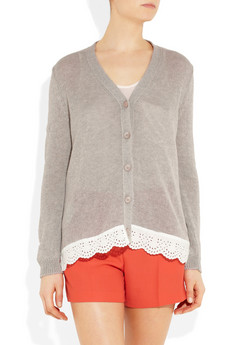 Miu Miu?|?Knitted cotton and lace cardigan?|?NET-A-PORTER.COM
