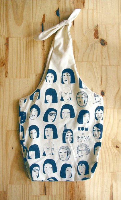 eco friendly silkscreened bag with bow / blue print by irana