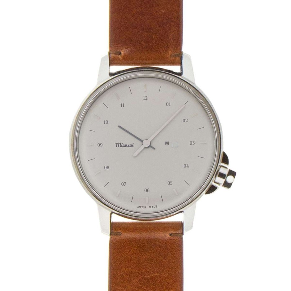 M12 Swiss Stainless on Leather Strap, Vintage Cognac - Watches