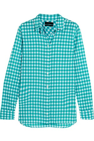 Gingham crinkled cotton-blend poplin shirt