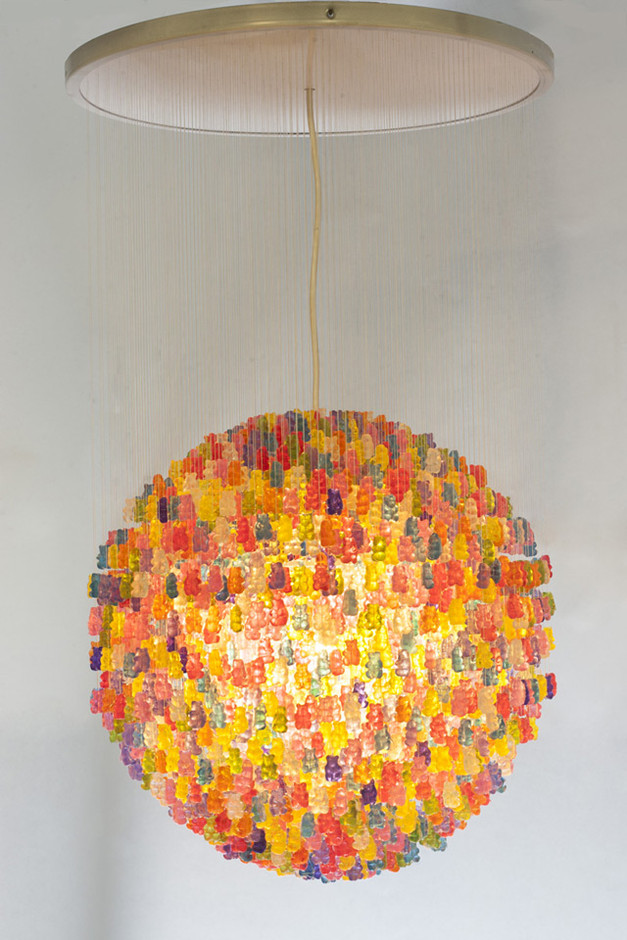 Chandelier Made from 3,000 Gummy Bears by Kevin Champeny | Colossal