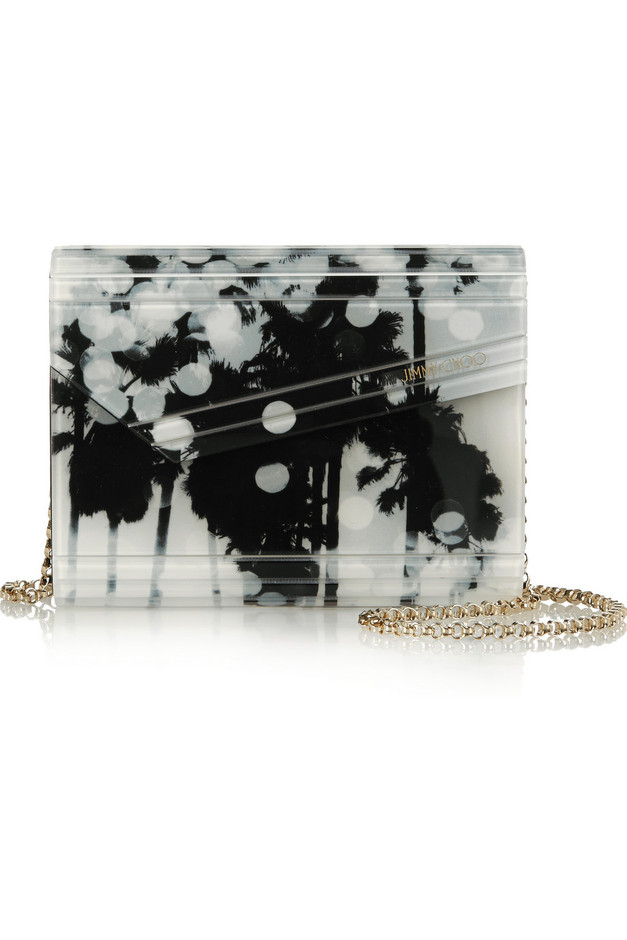 Jimmy Choo|Candy printed acrylic and leather clutch|NET-A-PORTER.COM