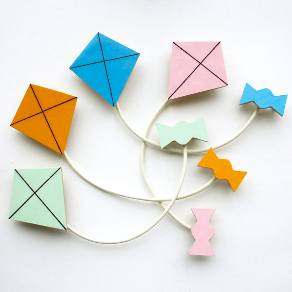 Kite and Ribbon Brooch Mint Yellow Blue or Pink by lucie0ellen