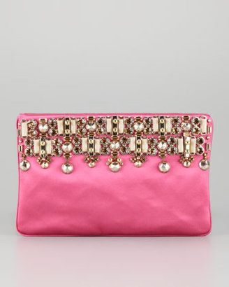 decoration / Prada Jeweled Satin Clutch Bag Fuchsia Prada