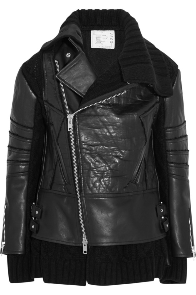 Sacai | Wool-paneled leather biker jacket | NET-A-PORTER.COM