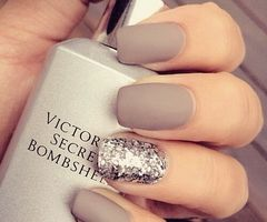 Matte nude nails with silver sparkle | Nails | Pinterest