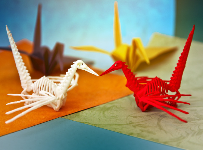 Origami Crane Skeleton by joabaldwin on Shapeways