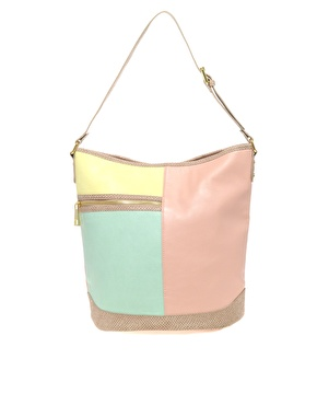 ASOS | ASOS Pastel Color Block Bucket Bag at ASOS