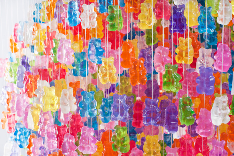 chandelier made from 3,000 gummy bears by kevin champeny
