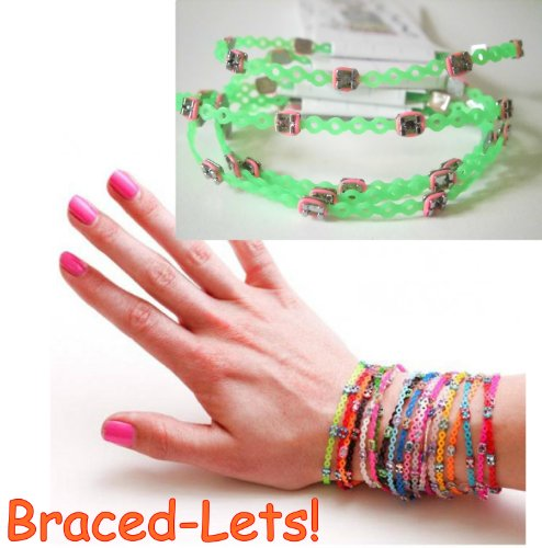 Amazon.co.jp: Braced Lets  (ブレスレッツ)  歯科矯正 ブレスレット  : 6本購入で一個プレゼント Neon green&hot pink   カラー: ジュエリー