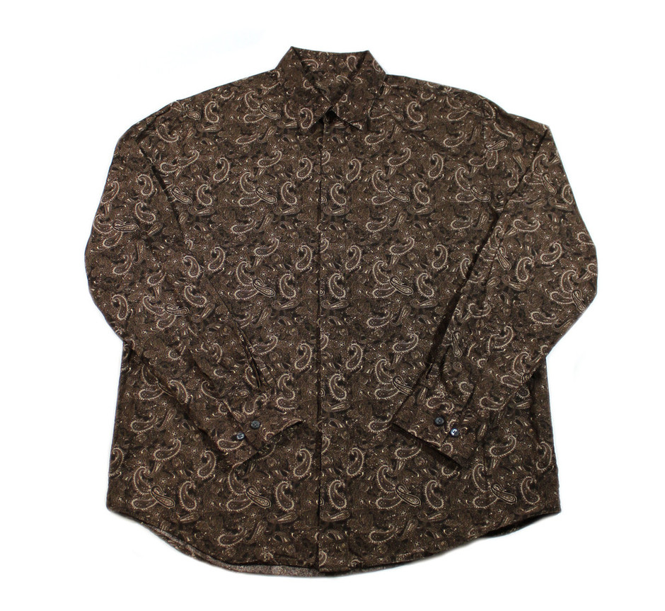Vintage 90s Brown Paisley Button Up Shirt Mens Size Large | Vintage Mens Goods