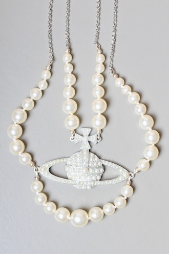 VIVIENNE WESTWOOD JEWELLERY Pearl Silver Orb Choker Necklace - AUTUMN/WINTER 11 from Autograph UK