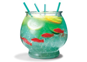 "Party / SUMMER DRINK! ½ cup Nerds candy ½ gallon goldfish bowl 5 oz. vodka 5 oz. Malibu rum 3 oz. blue Curacao 6 oz. sweet-and-sour mix 16 oz. pineapple juice 16 oz. Sprite 3 slices each: lemon, lime, orange 4 Swedish gummy fish Sprinkle Nerds on bottom of bowl as ""gravel."" Fill bowl with ice. Add remaining ingredients. Serve with 18-inch party straws."