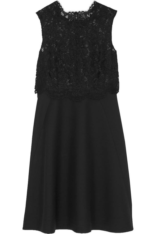 Valentino|Lace and wool and silk-blend crepe dress|NET-A-PORTER.COM