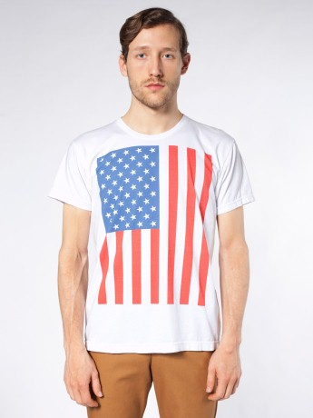 Screen Printed Power Washed Tee-US Flag Vertical | Novelty T-shirts | New & Now's Men | American Apparel