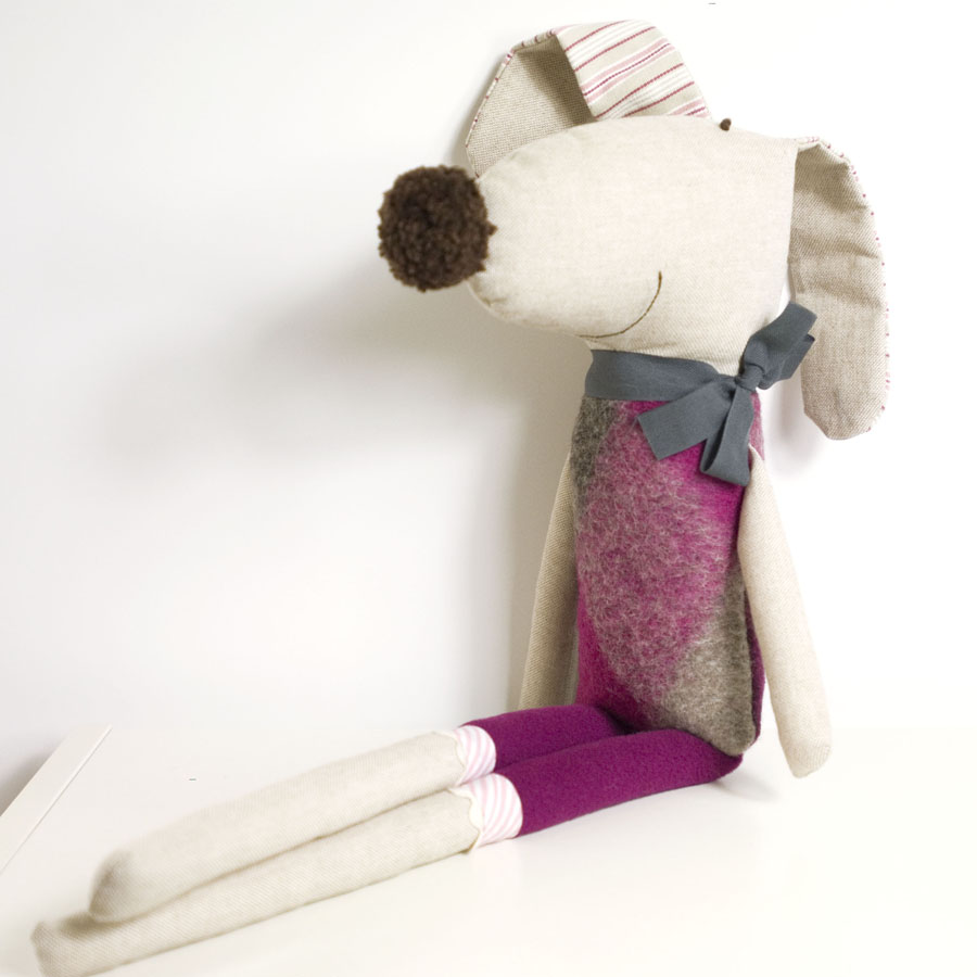 Ernesto The Soft Toy Dog * Pink And Grey Wool With Grey Loop | Luulla