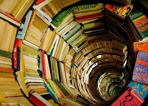 art, book, book tunnel, book tunnel library, books, bookshelf - inspiring picture on Favim.com
