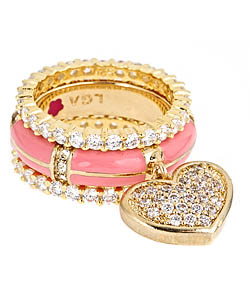 Lauren G. Adams Pink Pave Heart Stackable Ring Set - Max and Chloe