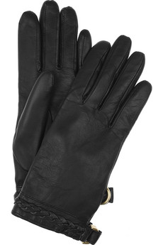 Mulberry|Braid-trimmed leather gloves|NET-A-PORTER.COM