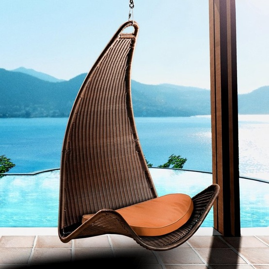Amazon.com: Outback Chair Co. Urban Balance Curve Wicker Hanging Chair Color - Canvas: Patio, Lawn & Garden