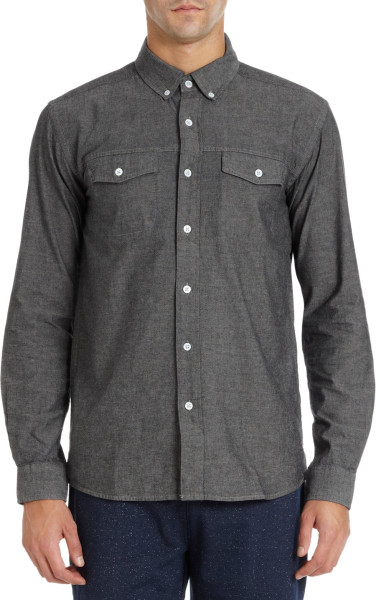 Saturdays Surf Nyc Two Chest Pocket Chambray Shirt in Gray for Men (Grey) | Lyst