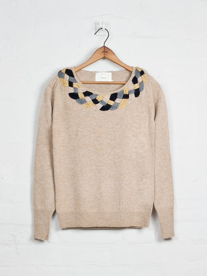 Colenimo — Plaited Collar Jumper - Beige<br>- was £199 -