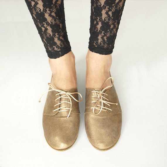 Bronze Leather Oxfords Handmade Shoes by elehandmade on Etsy