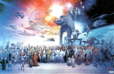 Amazon.com: Star Wars: Episode I-VI - Movie Poster (All Characters - With Space Ships) (Size: 36 x 24) Poster Print, 34x22: Home & Kitchen
