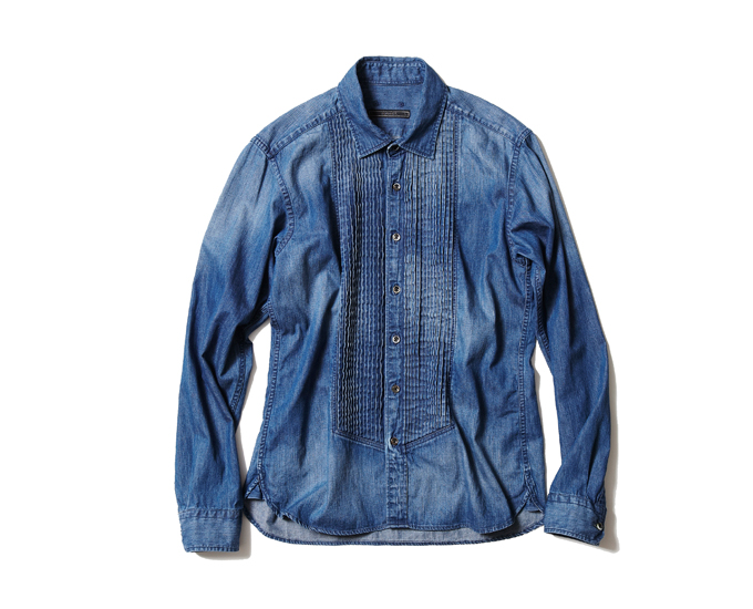 SOPHNET. | PRODUCT | LIGHT OUNCE DENIM PLEATS SHIRT