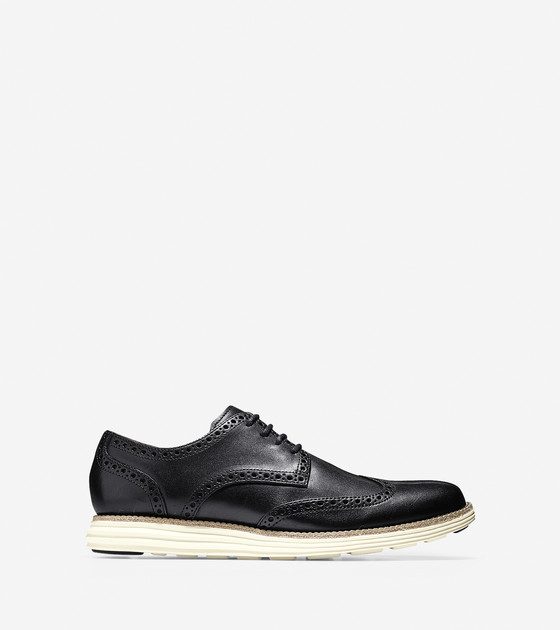 LunarGrand Wing Tip Shoes in Black-Ivory | Cole Haan