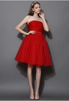 Endless Red Tulle Bustier Mesh Prom Dress - New Arrivals - Retro, Indie and Unique Fashion