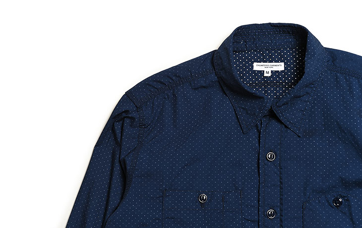 ENGINEERED GARMENTS/Work Shirt-Mini Polka Dot Lawn-Dk.Navy
