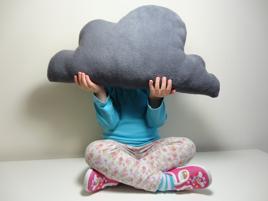 CLOUD PILLOW Cushion in Elephant grey coloured by Claireoncloud9