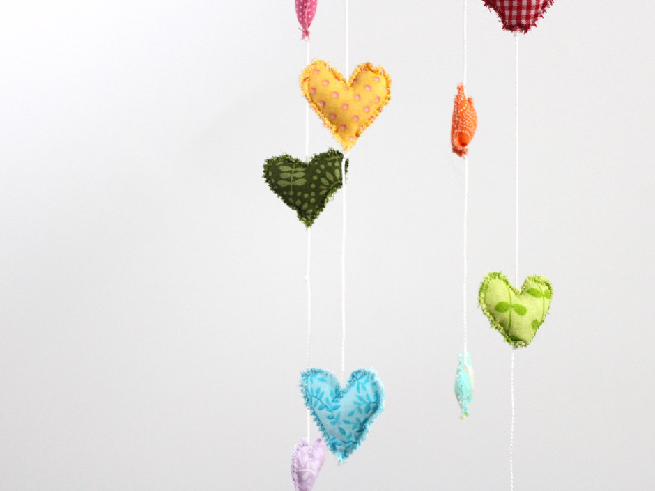 Showered with Love Heart Rainbow Cloud Mobile by BabyJivesCo
