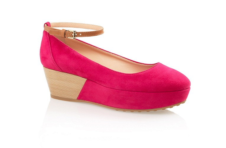 Suede Wedge Pumps With Ankle Strap - Shoes - Woman