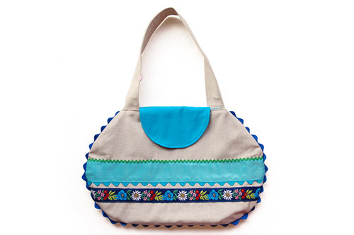 Linen Bag With Blue Appliqué Ribbons | Luulla