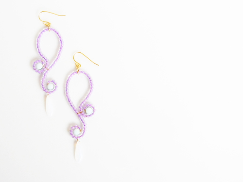 Purple Curvy Dangle Earrings /Mint Alabaster by OstaraTokyo
