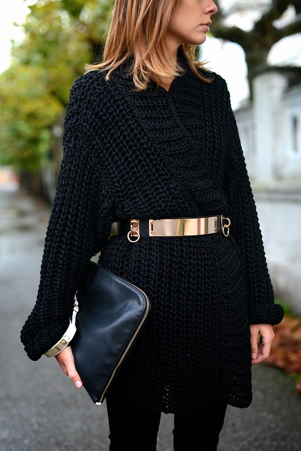 Style can't be bought or can it... / great sweater coat with gold belt