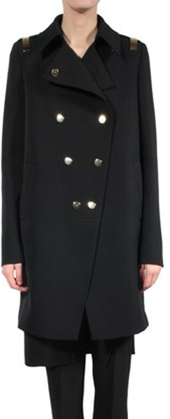Givenchy|Black double-breasted wool coat with gold bars|NET-A-PORTER.COM