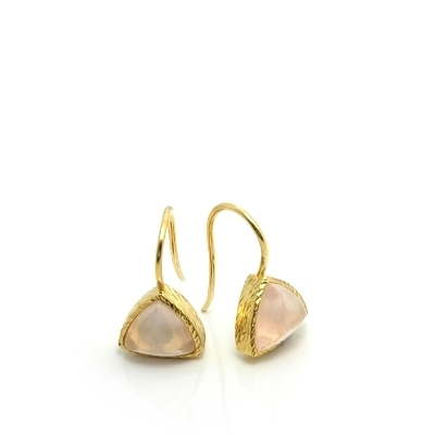 18K Gold Vermeil Pink Quartz Bezel Set Drop Earrings : Arylza - Serendipity, Online Shopping For Vermeil and 925 Sterling Silver Jewelry