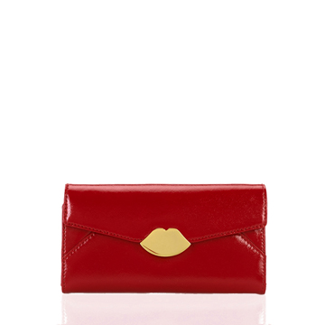 Red Leather Large Envelope Wallet | Purses - Lulu Guinness
