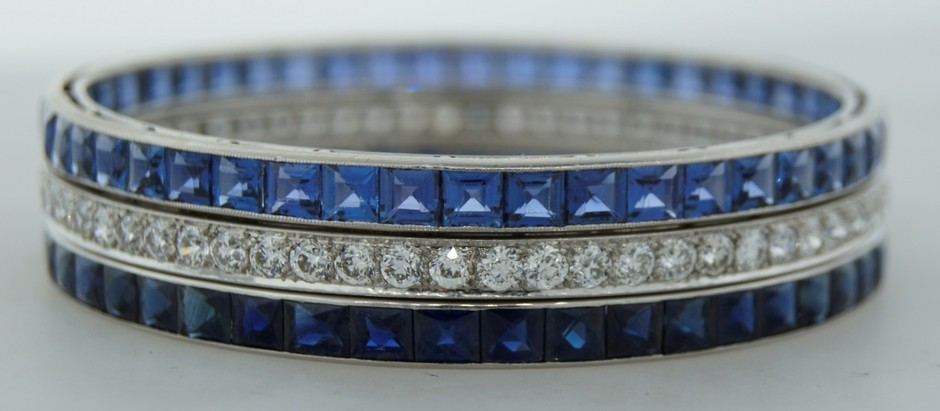Art Deco CARTIER Diamond Sapphire and Platinum Bangle Bracelet at 1stdibs