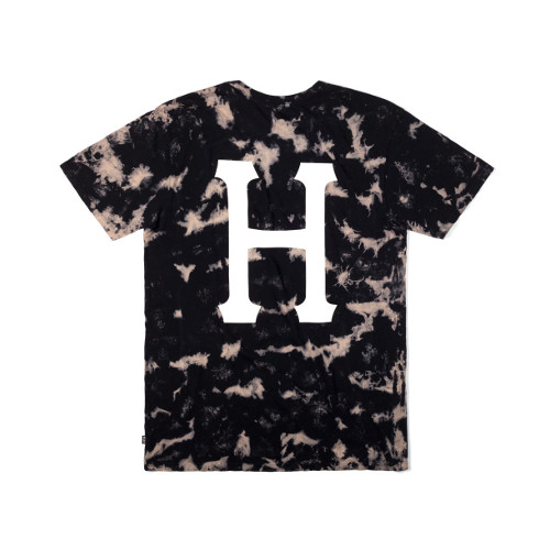 HUF - BLEACHED H TEE (Bleached Black) - Growth skateboard elements