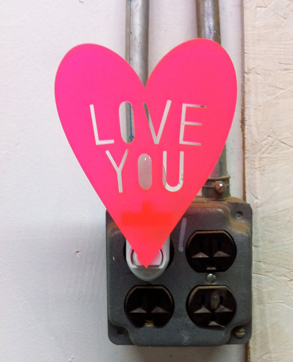 Love You night light in Neon Hot Pink by owlyshadowpuppets on Etsy