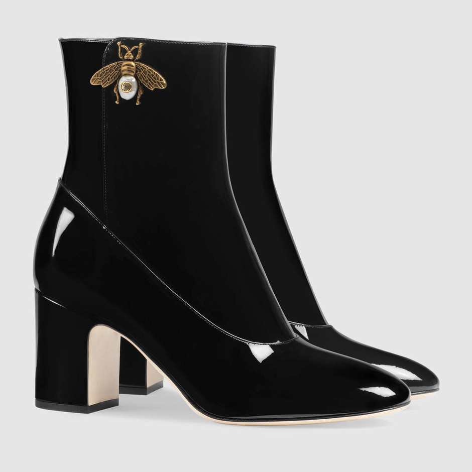 Patent leather ankle boot with bee - Gucci Women's Boots & Booties 475831BNC001000