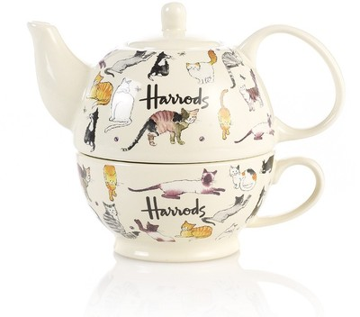 HARRODS Kates Cats Teapot And Cup - Polyvore
