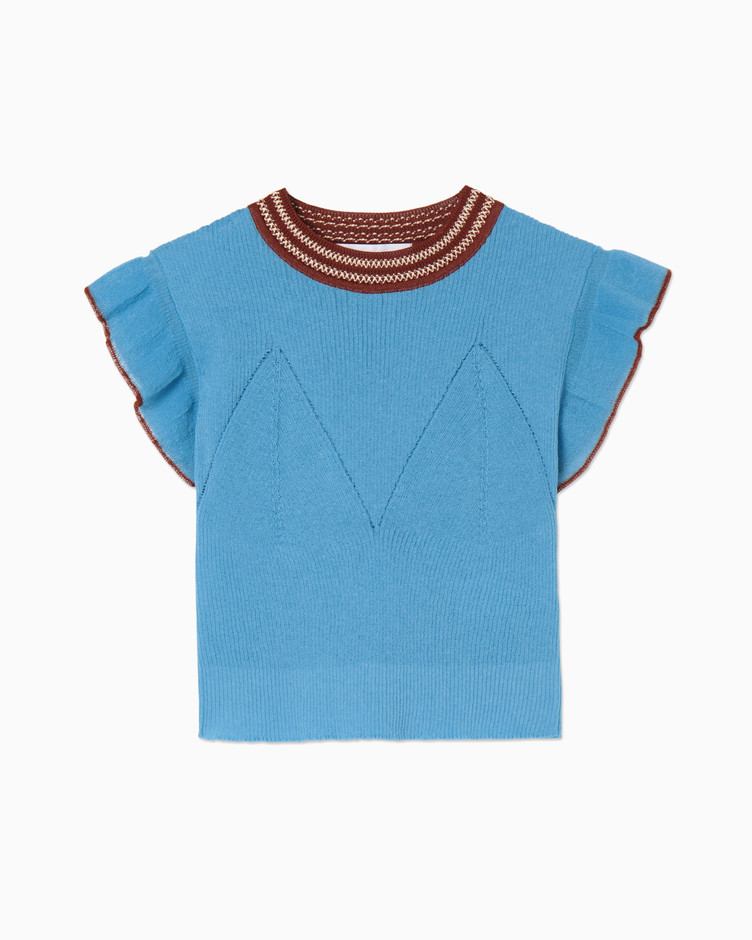 mame | Candy Pleats Knit Tops - sax blue